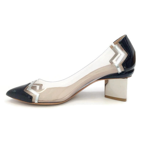 Lucite and Patent Chevron Pump by Nicholas Kirkwood inside