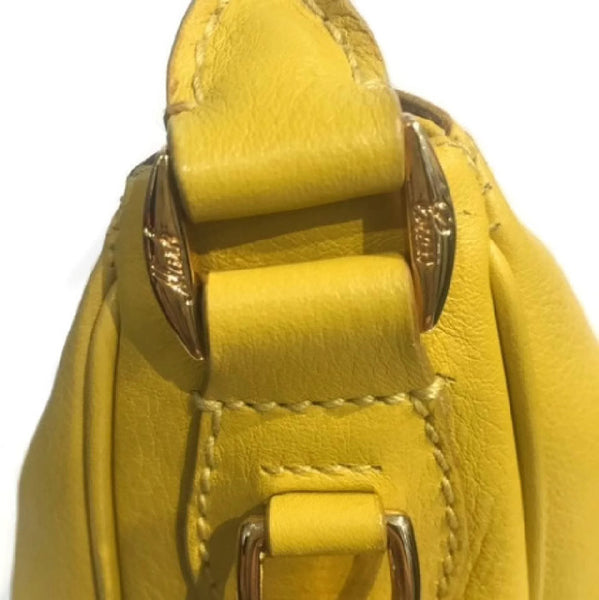 Limited Edition Yellow Satchel by Mark Cross close up