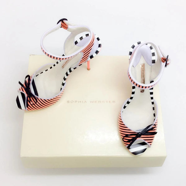 Lula Coral / Black Sandals by Sophia Webster with box