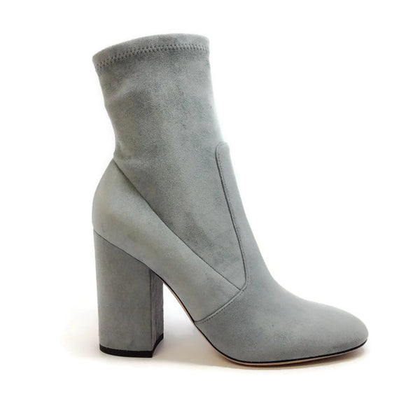 Suede Stretch Gray Bootie by Valentino outside