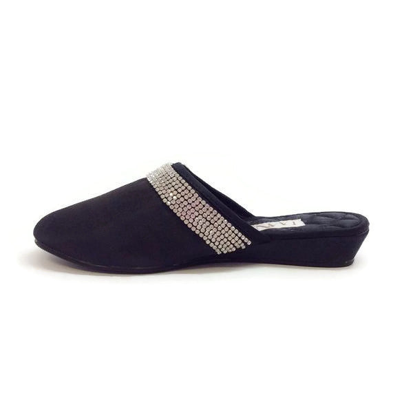 Satin Camellia Slipper Black by Luxe Me Now inside