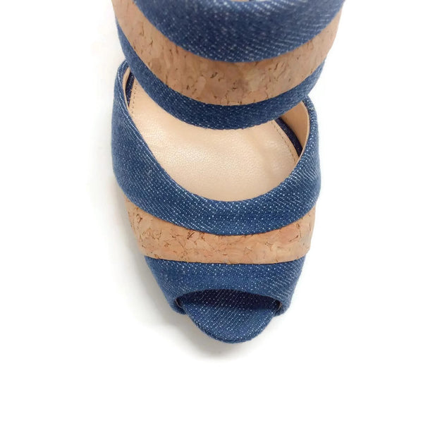 Denim and Cork Platform Sandals by Alexandre Birman toe