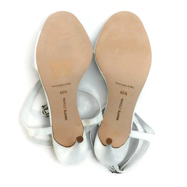 Llonicabi 105 White Patent Sandals by Manolo Blahnik 40.5