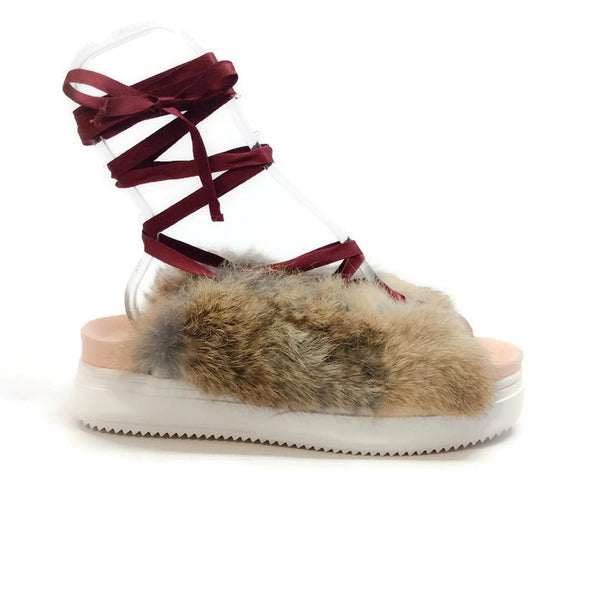 Rabbit Fur Beige Sandal by Undercover