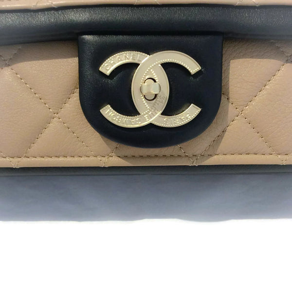 Classic Flap Shoulder Bag Black / Tan by Chanel front logo