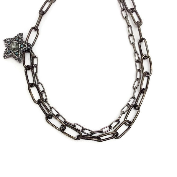 Crystal Star and Moon Short Necklace by Lanvin chain