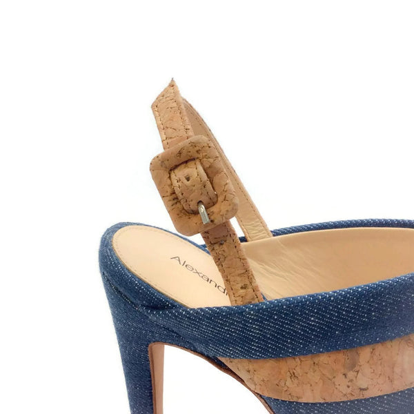 Denim and Cork Platform Sandals by Alexandre Birman buckle