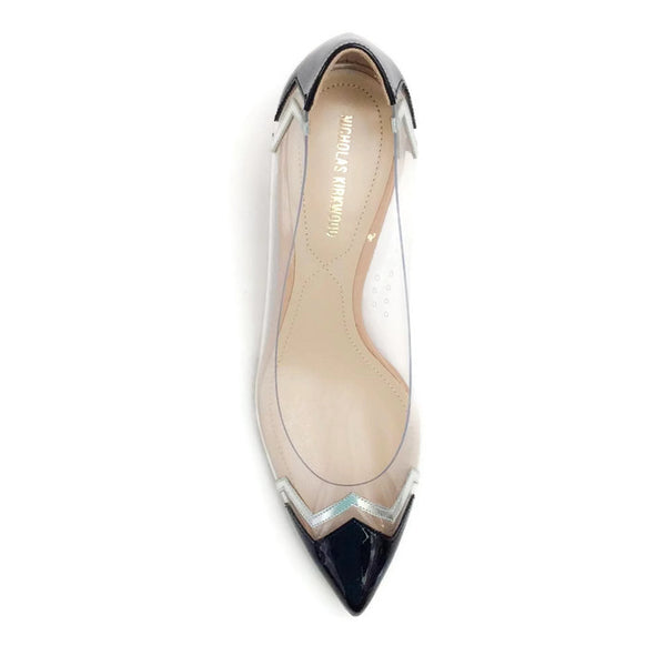 Lucite and Patent Chevron Pump by Nicholas Kirkwood top