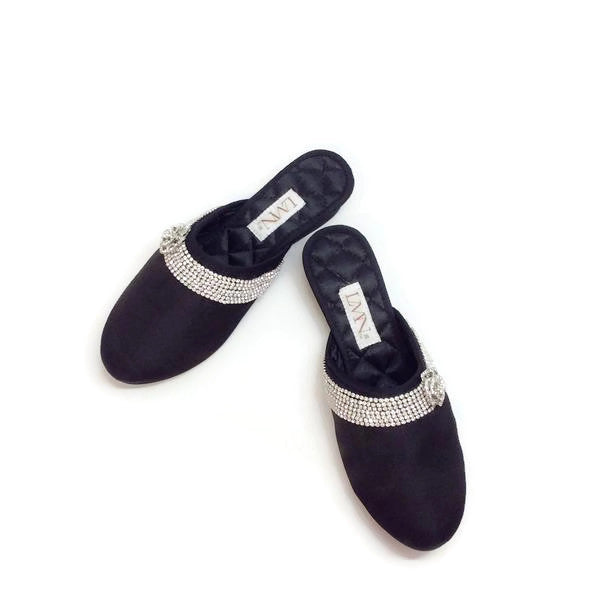 Satin Camellia Slipper Black by Luxe Me Now pair