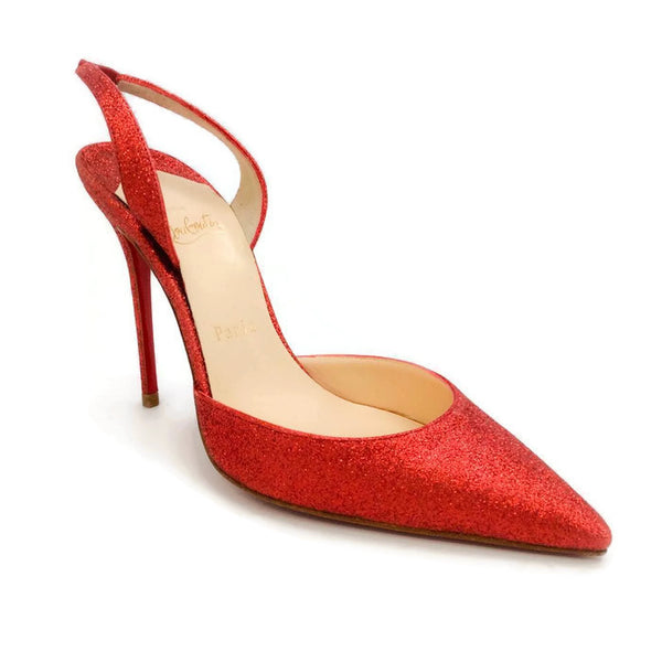 Ever Glitter Slingback Red Pumps by Christian Louboutin