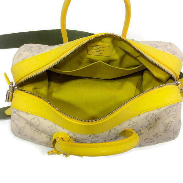 Limited Edition Jaune Monogram Denim Speedy Round Cross Body Bag by Louis Vuitton interior