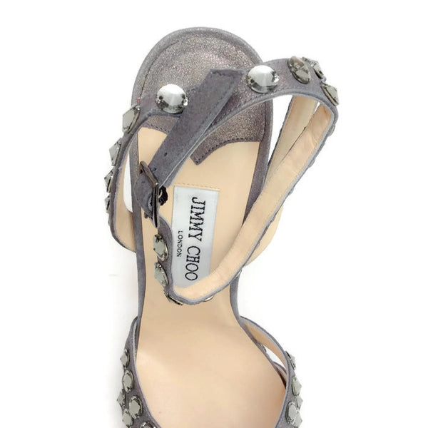 Jigsaw Silver Sandals by Jimmy Choo logo