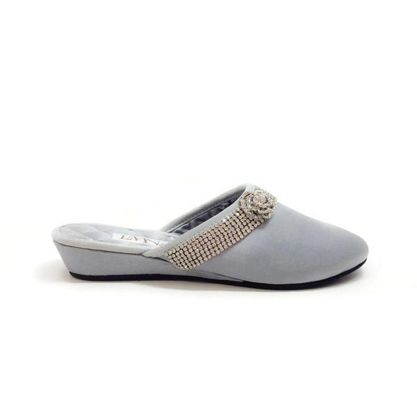 Satin Camellia Slipper Silver by Luxe Me Now outside