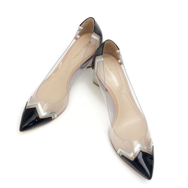 Lucite and Patent Chevron Pump by Nicholas Kirkwood pair