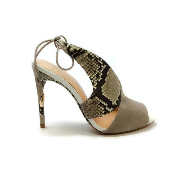Alani Gray Suede and Python Sandals by Alexandre Birman outside