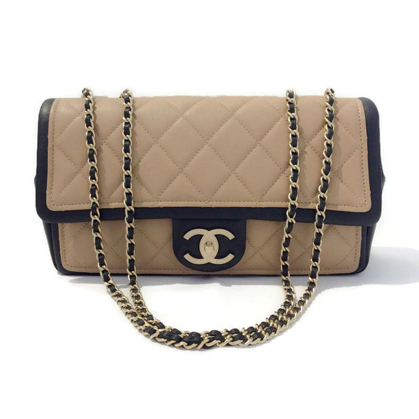 Classic Flap Shoulder Bag Black / Tan by Chanel