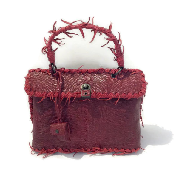 Antique Lizard Fuzzy Tiina Red Satchel by Bottega Veneta