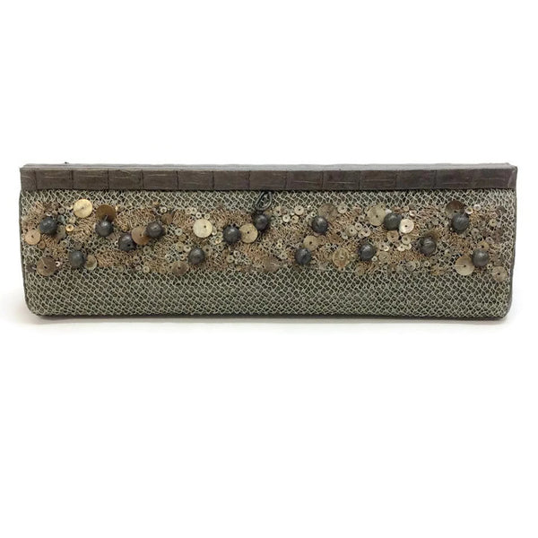 Metallic Dark Taupe With Sequins Clutch by Nancy Gonzalez