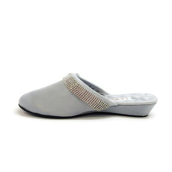Satin Camellia Slipper Silver by Luxe Me Now inside
