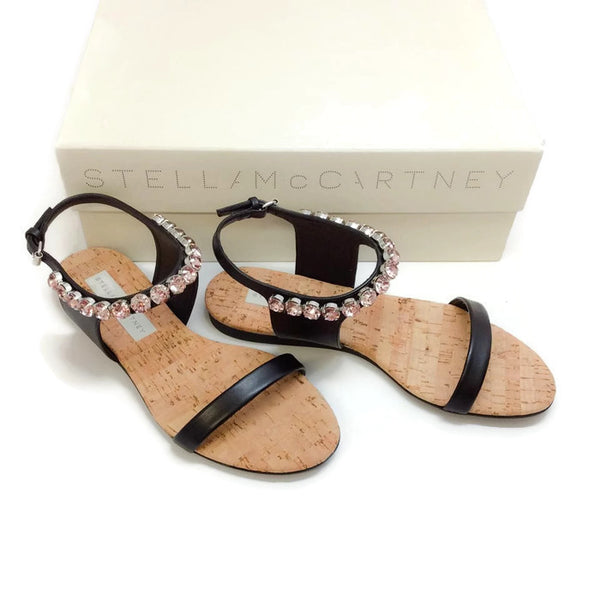 Pink Crystal Black Sandals with box