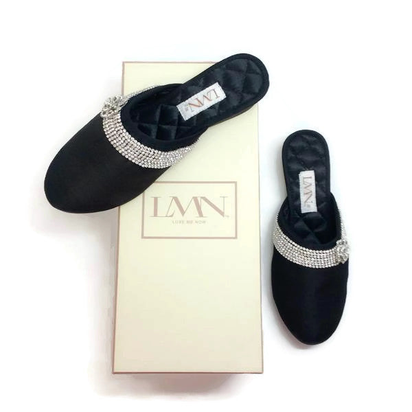 Satin Camellia Slipper Black by Luxe Me Now with box