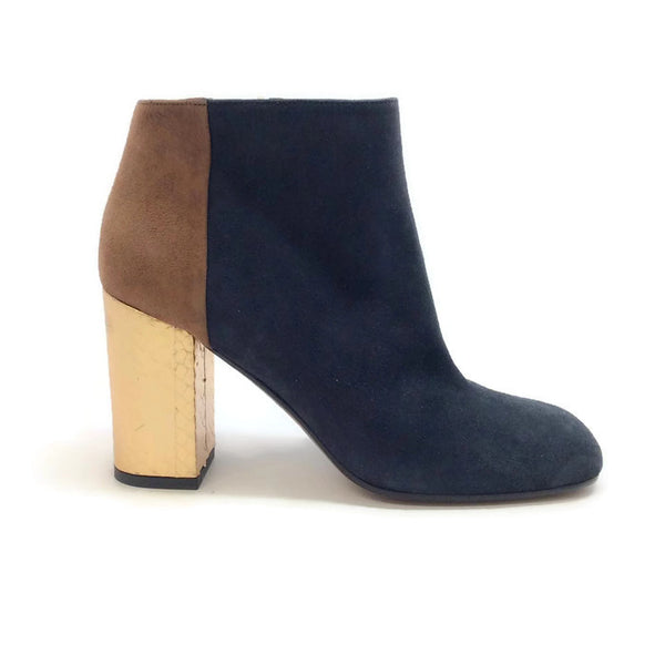 Suede Bootie with Gold Heel by Marni outside