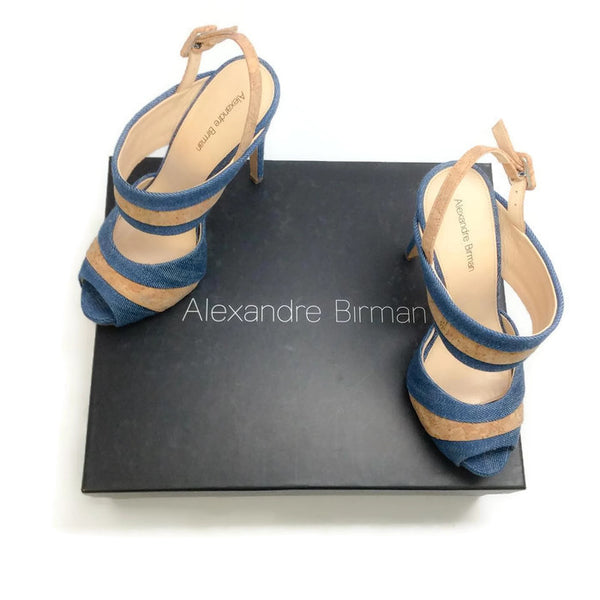 Denim and Cork Platform Sandals by Alexandre Birman with box