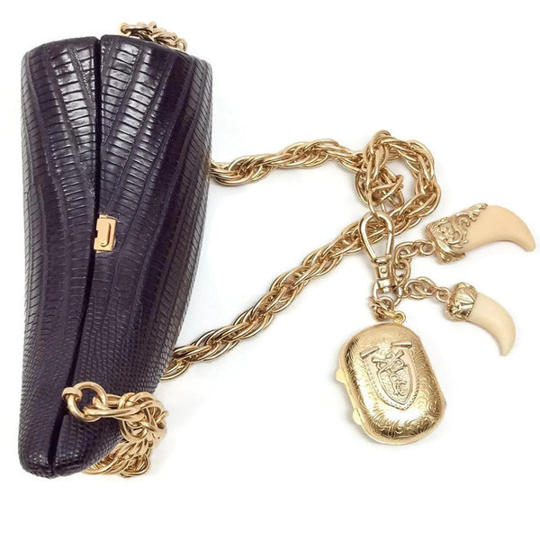 Lizard Horn Minaudiere With Charms Shoulder Bag by Roberto Cavalli top with charms