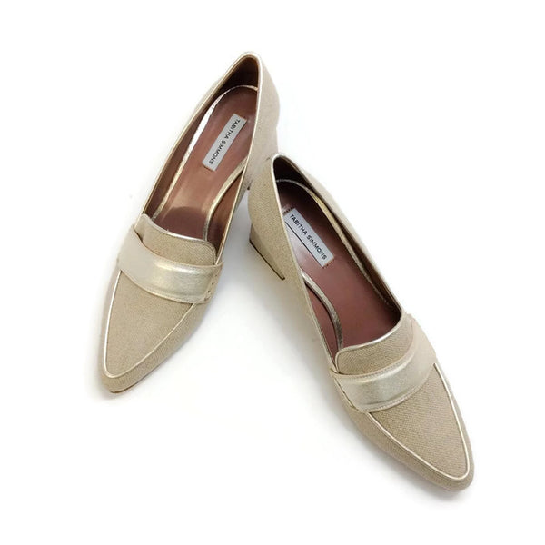 Margot Linen / Champagne Pumps by Tabitha Simmons pair