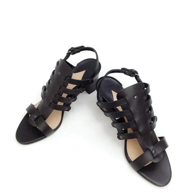 Addison Birdcage Black Sandals by Paul Andrew pair