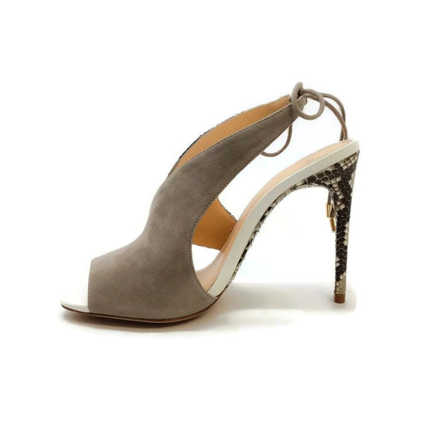 Alani Gray Suede and Python Sandals by Alexandre Birman inside