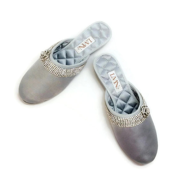 Satin Camellia Slipper Silver by Luxe Me Now pair