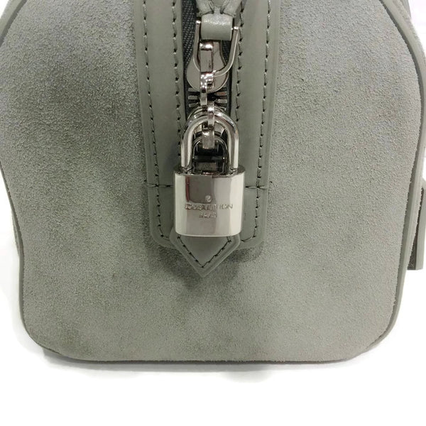 Limited Edition Grey Suede Illusion Speedy PM Satchel by Louis Vuitton lock