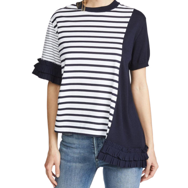 Clu Navy and White Mixed Media Stripe Tee Shirt