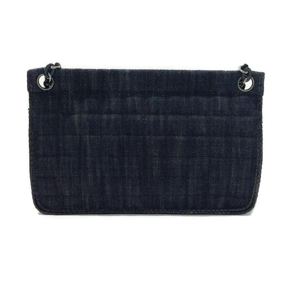Dark Denim And Black Python Shoulder Bag by Chanel back