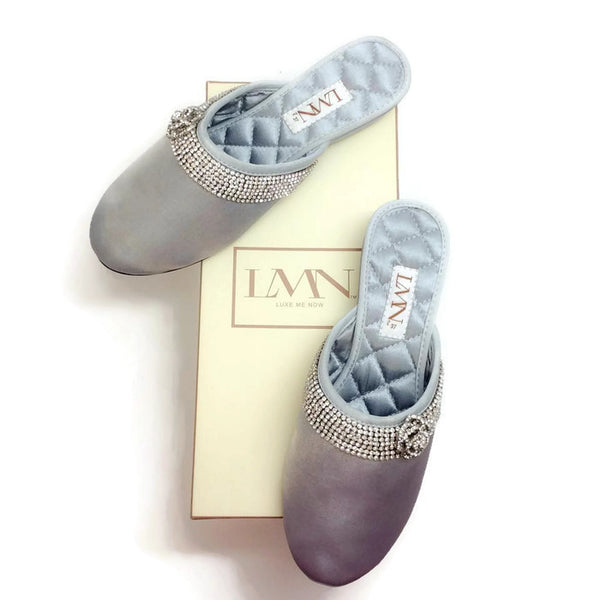 Satin Camellia Slipper Silver by Luxe Me Now with box