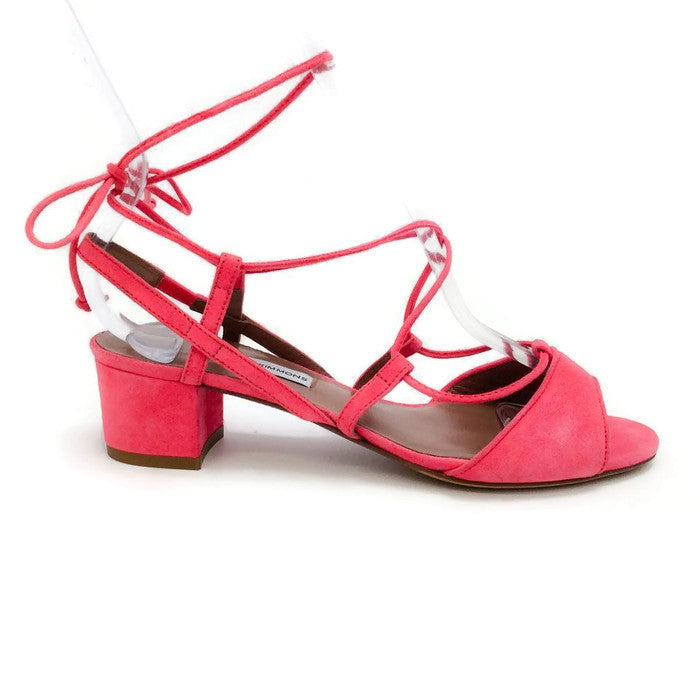 Lori Raspberry Lace Up Sandal by Tabitha Simmons outside