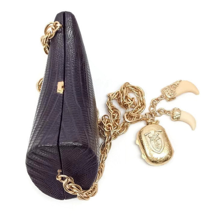 Lizard Horn Minaudiere With Charms Shoulder Bag by Roberto Cavalli top