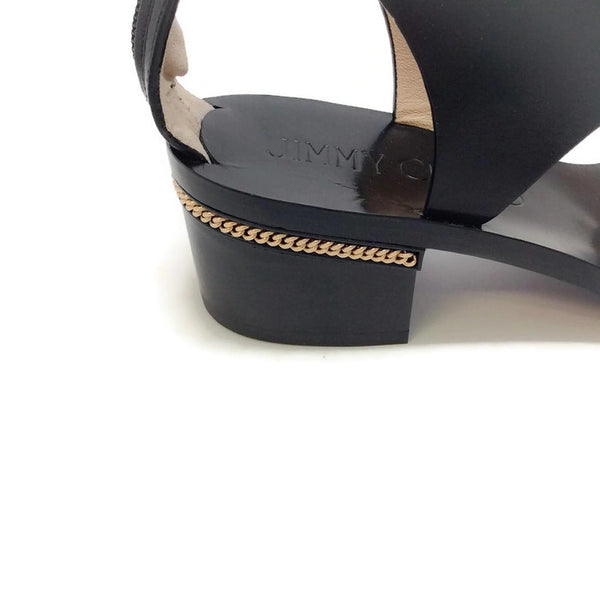 Block Heel With Gold Chain Black Sandals by Jimmy Choo heel detail
