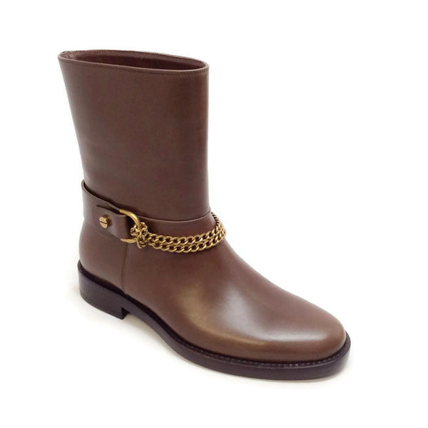 Chain-strap Leather Moto Brown Boots by Lanvin
