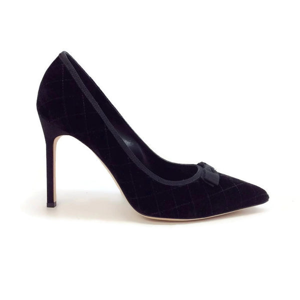 Bb 105 Quilted Velvet Black Pumps by Manolo Blahnik outside