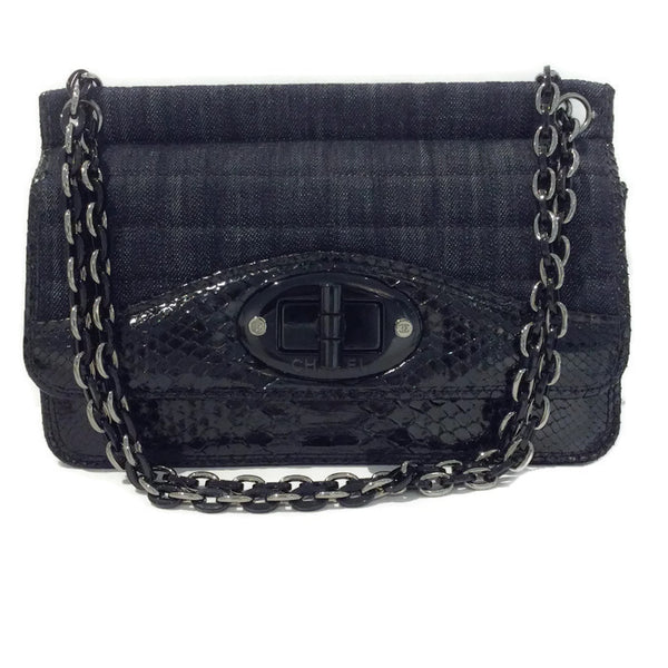 Dark Denim And Black Python Shoulder Bag by Chanel