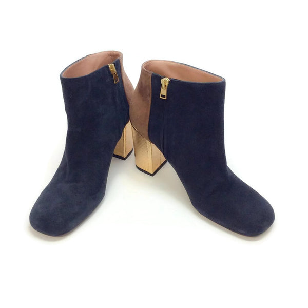 Suede Bootie with Gold Heel by Marni pair