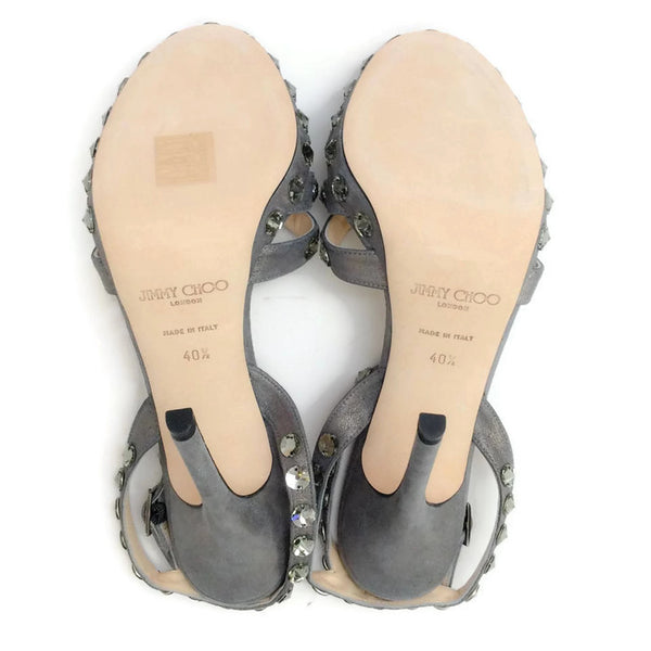 Jigsaw Silver Sandals by Jimmy Choo soles