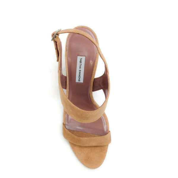 Senna Camel Sandals by Tabitha Simmons top