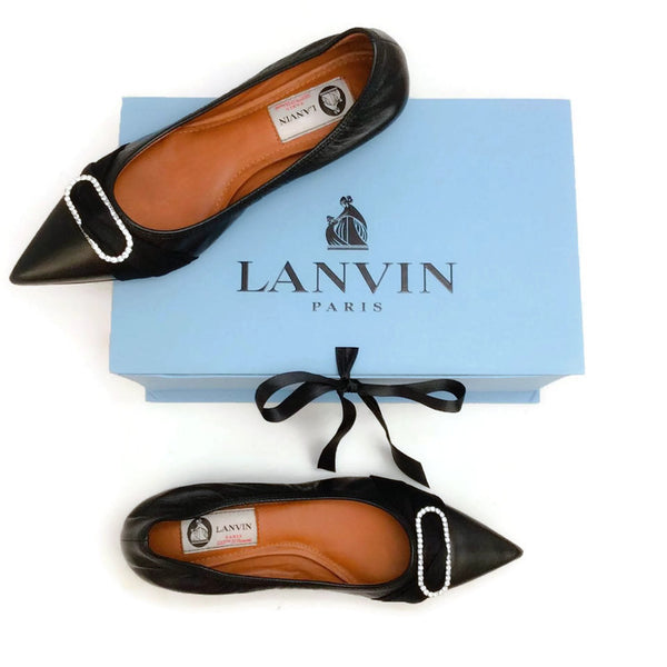 Crystal Buckle Ballet Flats by Lanvin with box