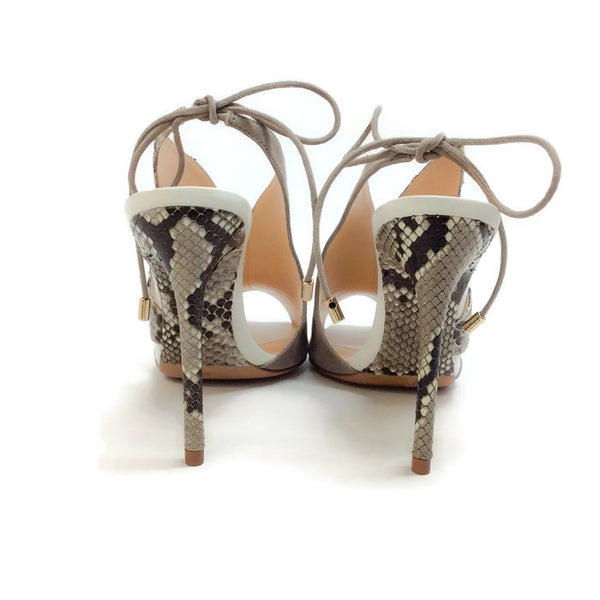 Alani Gray Suede and Python Sandals by Alexandre Birman back