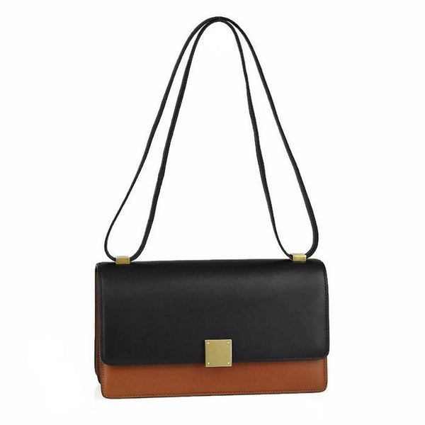 Camel Bicolor Calfskin Leather Medium Case Shoulder Bag by Cèline