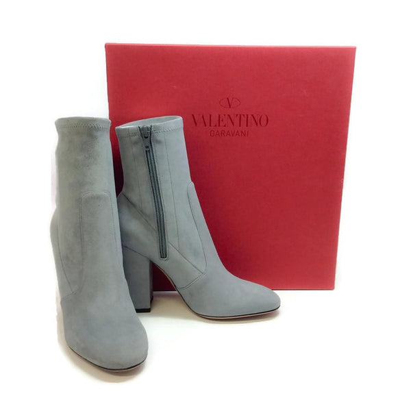 Suede Stretch Gray Bootie by Valentino with box
