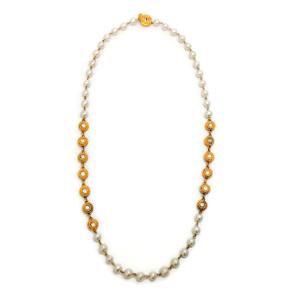 Vintage Early 1980's Pearl and Crystal Necklace by Chanel